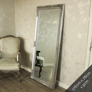 Large Ornate Silver Wall/Floor Mirror 176cm x 76cm