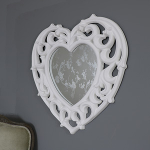 Large Ornate White Filigree Heart Wall Mirror 73cm x 76cm