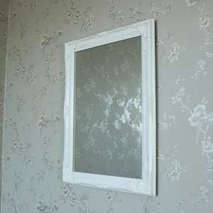 Large Ornate White Gloss Wall Mirror 62cm x 82cm