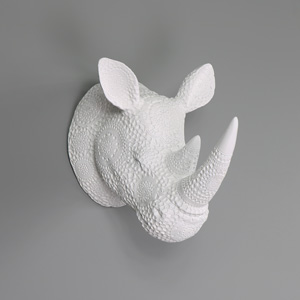 Large Ornate White Wall Mounted Rhino Head