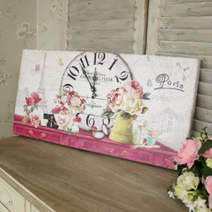 Large 'Paris' Floral Wall Clock