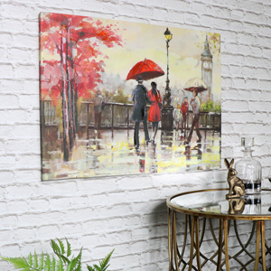 Large Rainy Day in London Canvas Wall Art