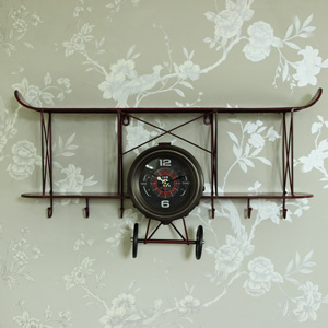 Large Retro Biplane Wall Clock Shelf with Hooks