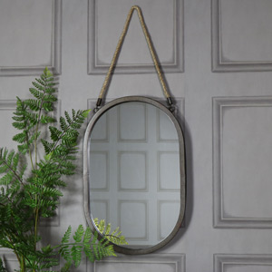 Large Rustic Black Oval Wall Mirror