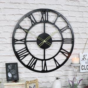 Large Rustic Black Skeleton Wall Clock
