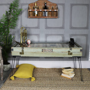 Large Rustic Coffee Table with Glass Top Storage