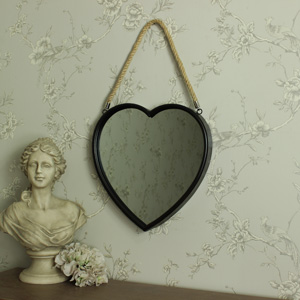 Large Rustic Metal Heart Hanging Wall Mirror 35cm x 36cm
