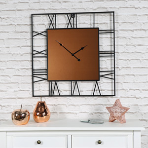 Large Square Copper & Black Skeleton Clock