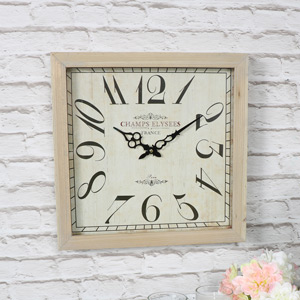 Large Square Vintage French Wooden Wall Clock