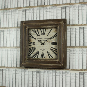 Large Square Wooden Wall Clock
