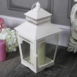Large Vintage Cream Candle Lantern