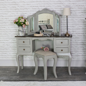 Large Vintage Grey Twin Pedestal Dressing Table, Mirror and Stool Set - Leadbury Range