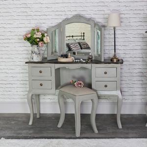 Large Vintage Grey Twin Pedestal Dressing Table, Mirror and Stool Set - Leadbury Range