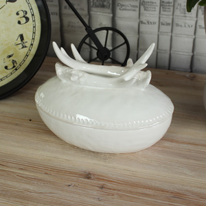 Large White Ceramic Antler Bowl