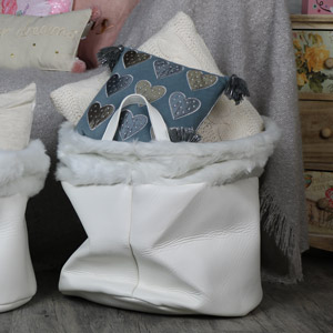 Large White Faux Fur/Leather Laundry Storage Basket