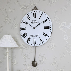 Large White Metal Wall Clock with Pendulum