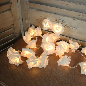 Large White Rose Fairy Lights
