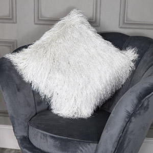 Large White Silver Shaggy Scatter Cushion