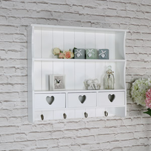 Large White Wall Shelf with Heart Drawer Storage