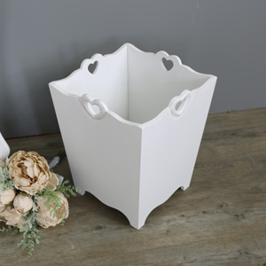 Large White Wooden Heart Detailed Waste Paper Bin
