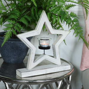 Large White Wooden Star Tealight Holder