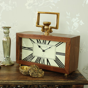 Large Wood & Brass Antique Style Mantel Clock