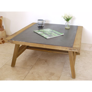 Large Wooden Rustic Industrial Style Coffee Table with Metal Top