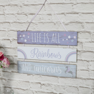 'Life Is All About Rainbows And Unicorns' Hanging Wall Plaque
