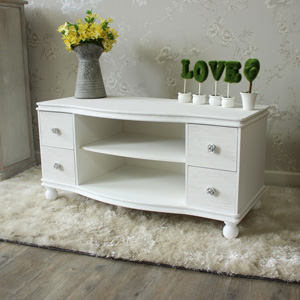 White TV Cabinet with 4 Drawers - Lila Range