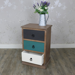 Loft Living Range Natural Drift Wood 3 Drawer Bedside Chest