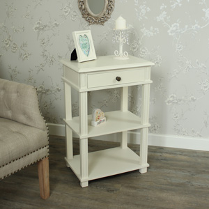 London Range - Cream Telephone Stand Bedside Table Cabinet