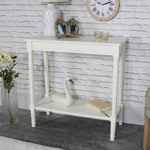 Louella Range - Ivory Console Table With Shelf