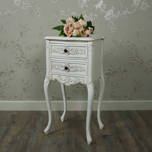 Ivory Ornate Bedside Table - Louis XV Range