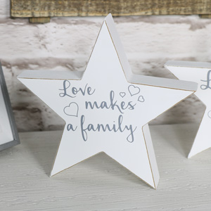 'Love Makes a Family' Freestanding Star Plaque