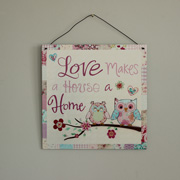 'Love Makes A House A Home' Metal Hanging Plaque