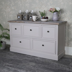 Low 5 Drawer Chest of Drawers - Cotswold Range