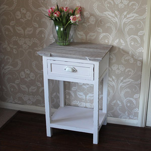 Cream One Drawer Bedside Table with Shelf - Lyon Range