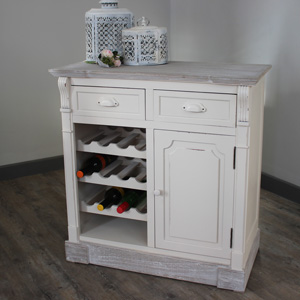 Cream Kitchen Cabinet With Wine Rack - Lyon Range