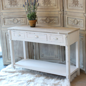 Cream Sideboard Console Table with 3 Drawer Storage - Lyon Range