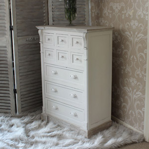 Cream 9 Drawer Storage Chest of Drawers - Lyon Range