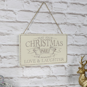 'May Your Christmas Sparkle' Wooden Wall Plaque