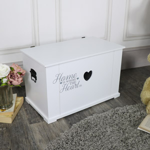 Medium White Heart Storage Box