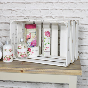 Medium White Wooden Storage Crate