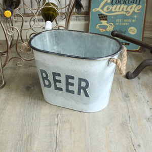 Metal 'Beer' Ice Bucket