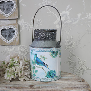 Metal Blue Bird Decorative Urn