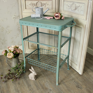 Duck Egg Blue Metal Table with Shelves