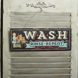 Metal Vintage 'Wash' Plaque