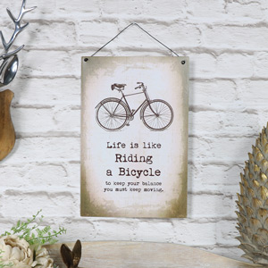 "Metal Wall Plaque ""Life is Like Riding a Bicycle"""