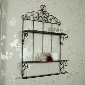 Metal Wall Shelf with Towel Rail