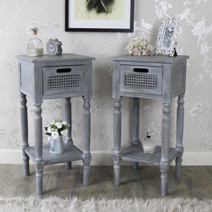 Milan Range - Furniture Bundle, Pair of Grey One Drawer Side Tables